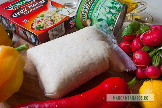ingrediente pentru salata proteica vegetariana, cu ridichi