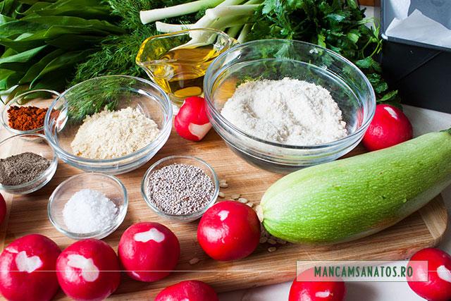 orez integral rasnit si alte ingrediente pentru drob vega cu ridichi si dovlecei