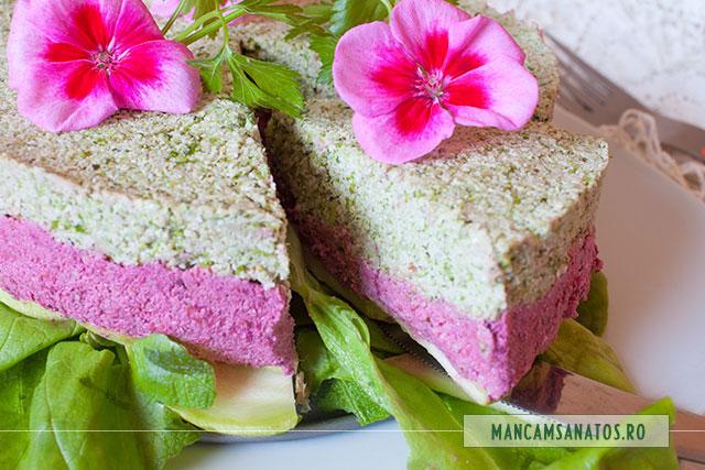 tort aperitiv raw vegan, cu flori de muscata, feliat