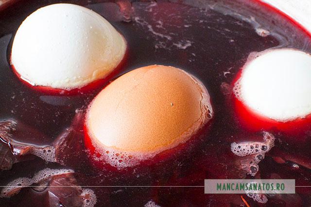 ou albe si rosii, cufundate in vopsea naturala de oua