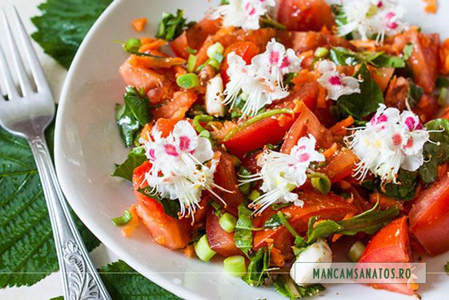 salata detox cu frunze de primavara si flori de castan salbatic