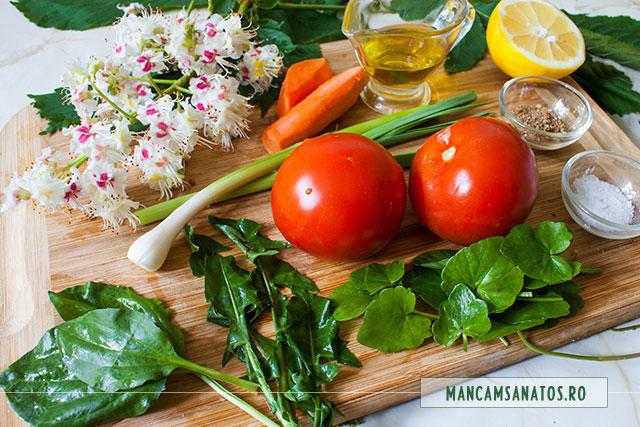 ingrediente pentru salata detox cu frunze de primavara si flori de castan salbatic