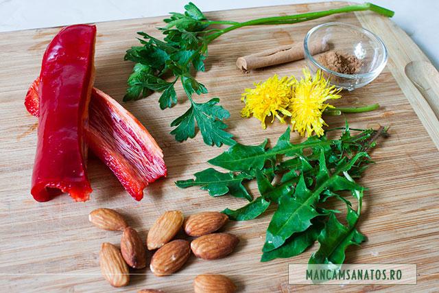 ingrediente pentru smoothie puternic antioxidant, cu flori si frunze de papadie