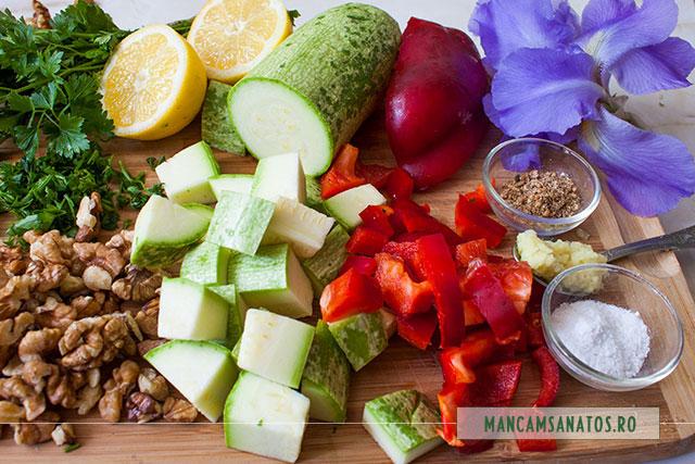 ingrediente pentru pateu raw vegan de nuci, cu petale de stanjenel