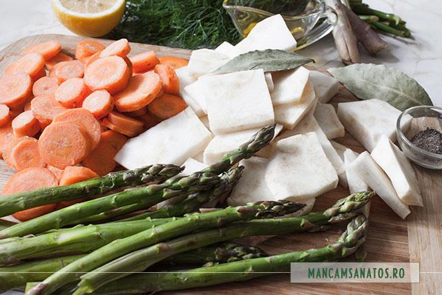 asparagus si legume pregatite pentru fiert al dente si aromatizate