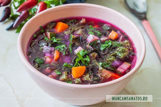 bors vegetarian cu zucchini, loboda si salata creata