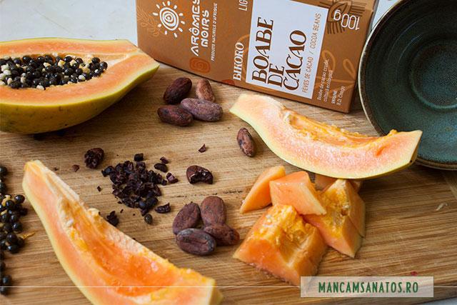 papaya si boabe crude de cacao, pentru un dulce sanatos