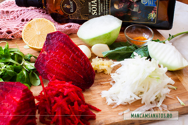 gulie si sfecla rosie, razuite, si alte ingrediente, pentru salata