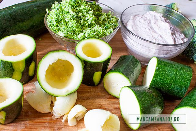 dovlecei scobiti, maioneza de nuci si broccoli razuit, pentru salata