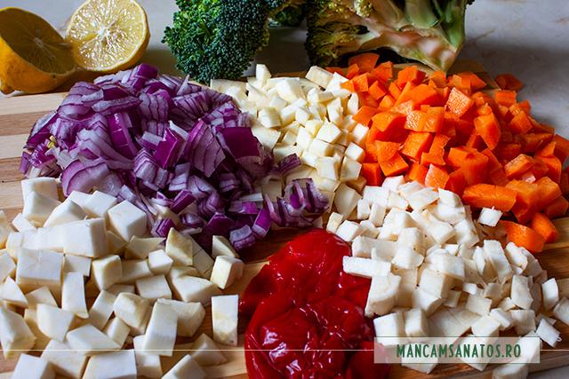 ingrediente pregatite pentru ciorba acra, cu broccoli si tarhon