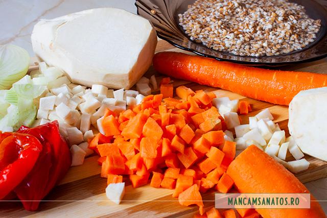 arpacas hidratat si legume tocate, pentru ciorba de legume, cu arpacas si tarhon