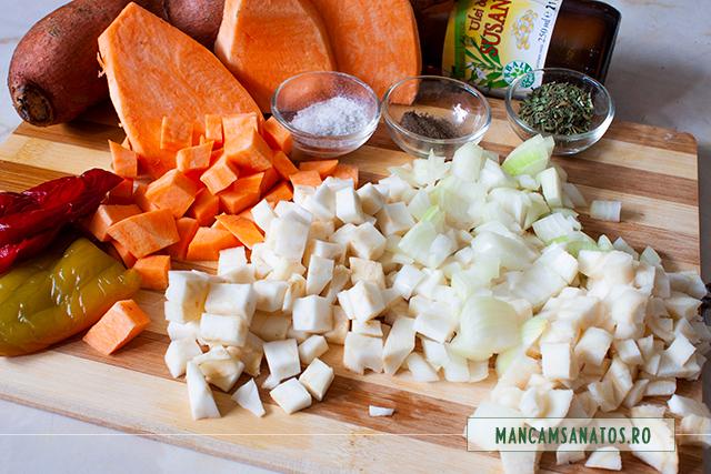 cartofi dulci si alte legume, pregatite pentru ciorba de cartofi dulci, cu tarhon uscat