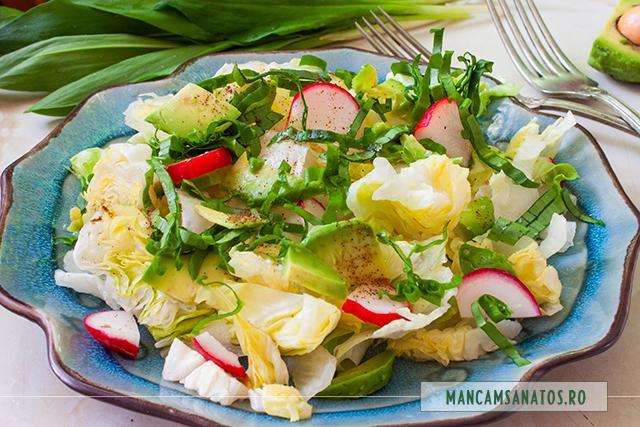 salata iceberg, cu avocado, ridichi si leurda
