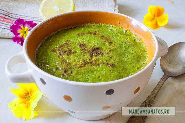 supa crema de broccoli, cu frunze crude de telina si stevie