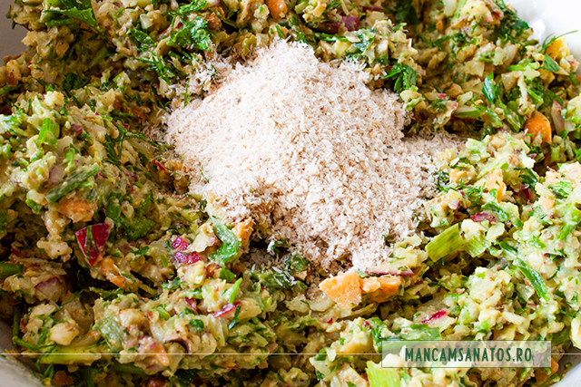 compozitie cu tarate de psyllium adaugate, pentru pentru drob raw vegan cu nuci, avocado, ridichi si verdeturi