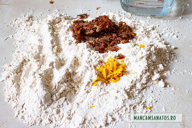 ingrediente pentru aluat de pasca vegana, cu umplutura raw de avocado, tofu, stafide si cacao