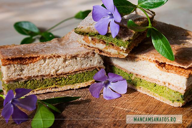 prajitura vegana aperitiv, cu pateuri raw vegane de stevie si de hrisca