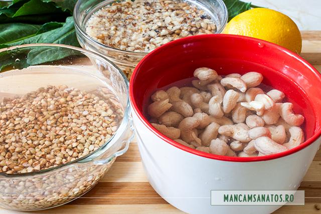alune de calu, nuci si seminte la hidrata, pentru prajitura aperitiv vegana, cu pateuri raw vegane de stevie si de hrisca
