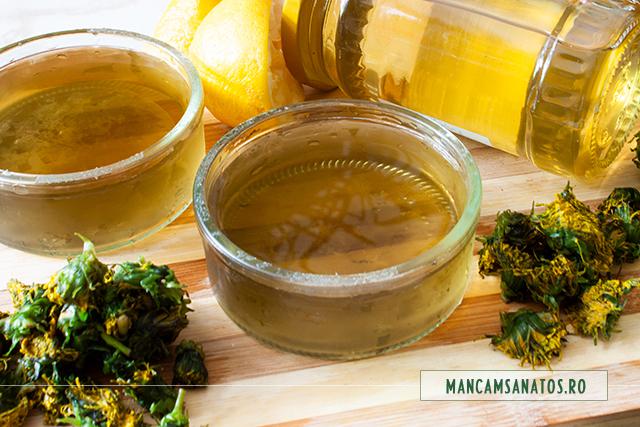 infuzie macerata de flori de papadie, pentru miere de albine,