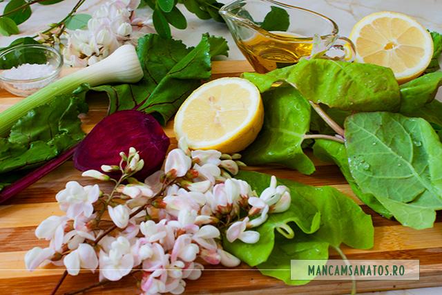 ingrediente pentru salata cu sfecla rosie, loboda verde si flori de salcam
