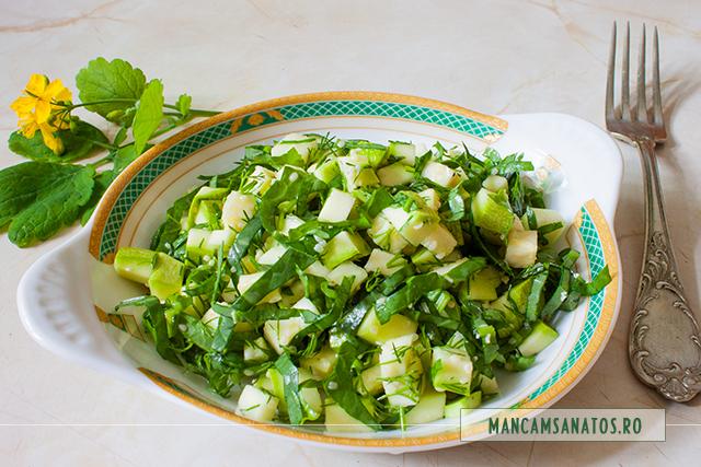 salata cruda de dovlecel si stevie, cu marar si seminte de canepa