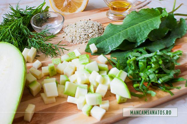 ingrediente pentru salata cruda de dovlecel si stevie, cu marar si seminte de canepa