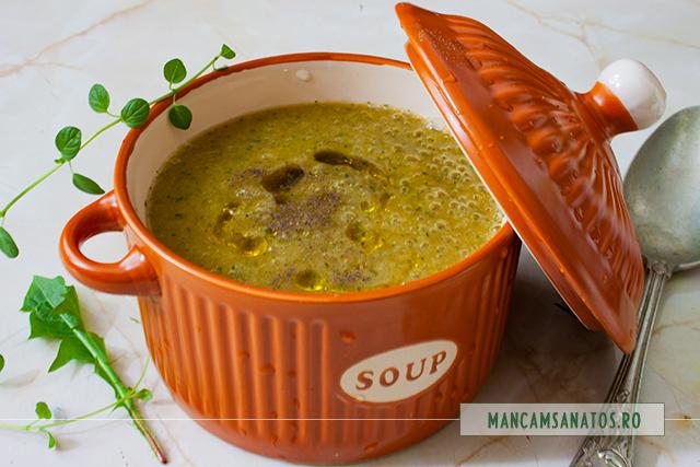 supa crema de legume, cu frunze de papadie si oregano