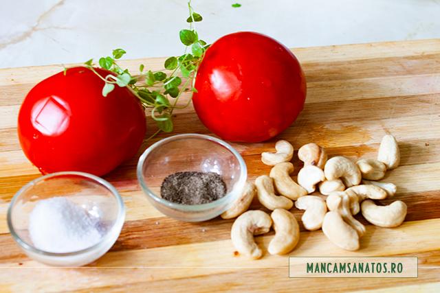 ingrediente pentru salata aperitiv de rosii, cu alune de caju si mirodenii