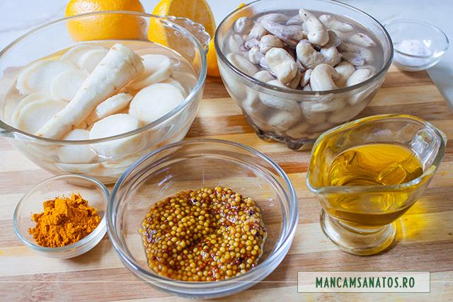 ingrediente pentru maioneza raw vegana din radacina de patrunjel si alune de caju