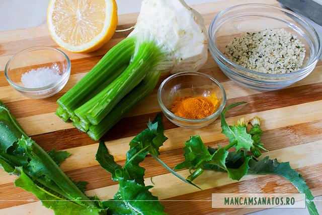 ingrediente pentru smoothie de telina cuseminte de canepa si frunze de susai