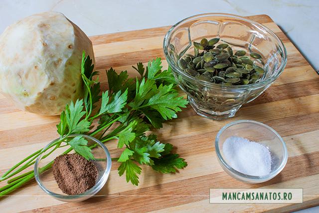 ingrediente pentru telina cu sos din seminte de dovleac si ienibahar