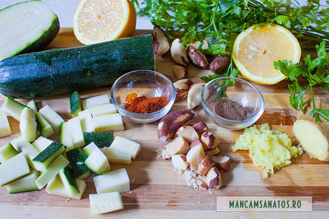 ingrediente pentru zucchini si nuci braziliene, cu sos de patrunjel si ghimbir