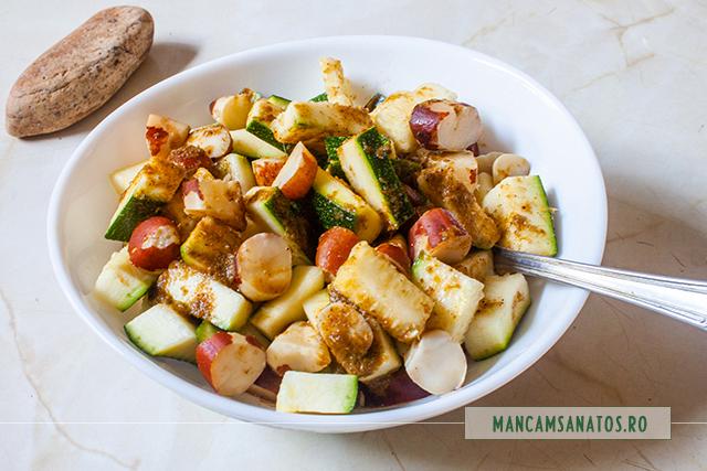 zucchini si nuci braziliene, cu sos de patrunjel verde si ghimbir