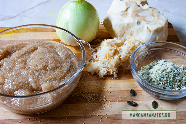 amaranth fiert si alte ingrediente pentru chiftele vegane cu telina, amarant si mirodenii