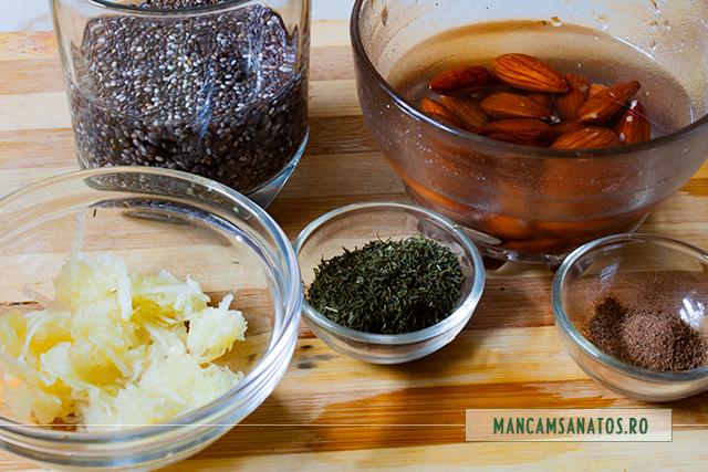 ingrediente pentru sos de migdale, seminte de chia si condimente