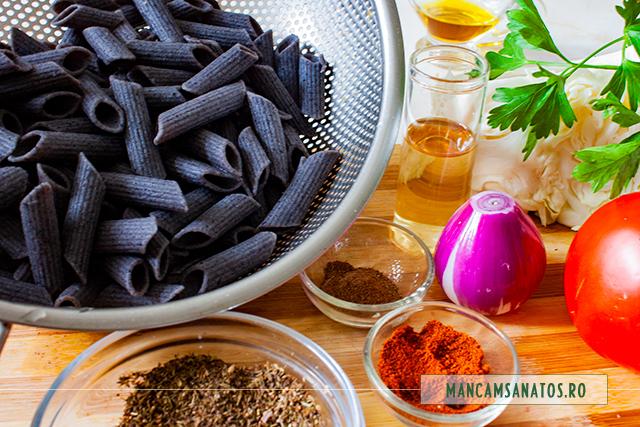 ingrediente pentru paste de fasole neagra, cu sos crud de varza