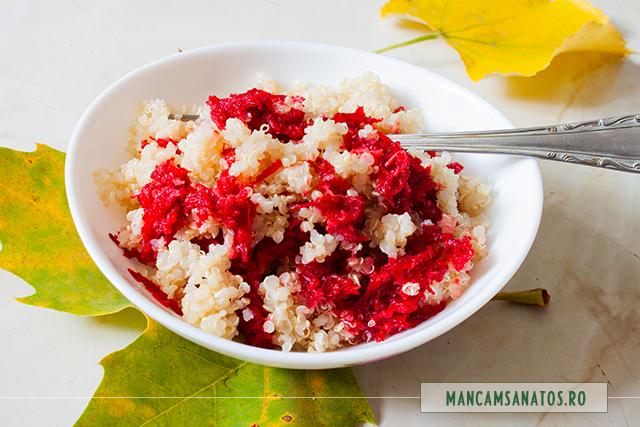 quinoa fiarta, cu sfecla rosie si hrean