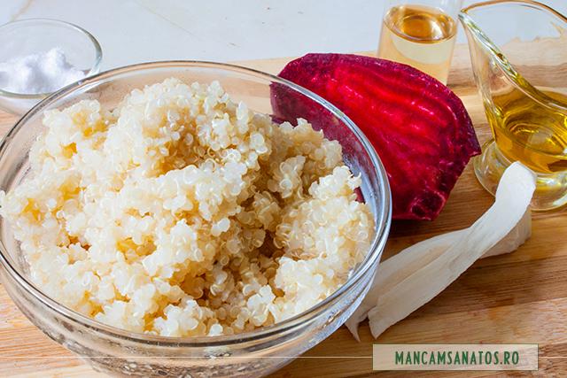 ingrediente pentru quinoa fiarta, cu sfecla rosie si hrea