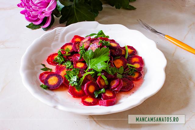 salata de morcovi mov, cu dressing din miere de balta