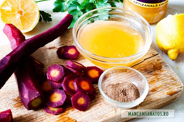 ingrediente pentru salata de morcovi mov, cu dressing din miere de balta
