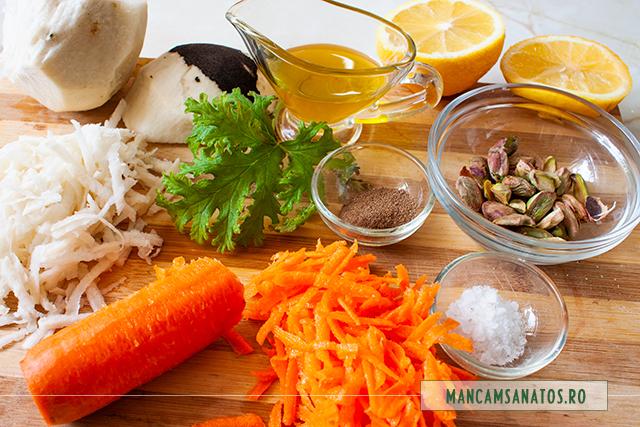 ingrediente pentru morcov si ridiche neagra, cu frunze de indrusaim
