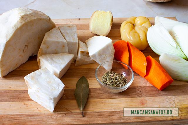 ingrediente pentru supa crema de telina, cu ghimbir si rozmarin
