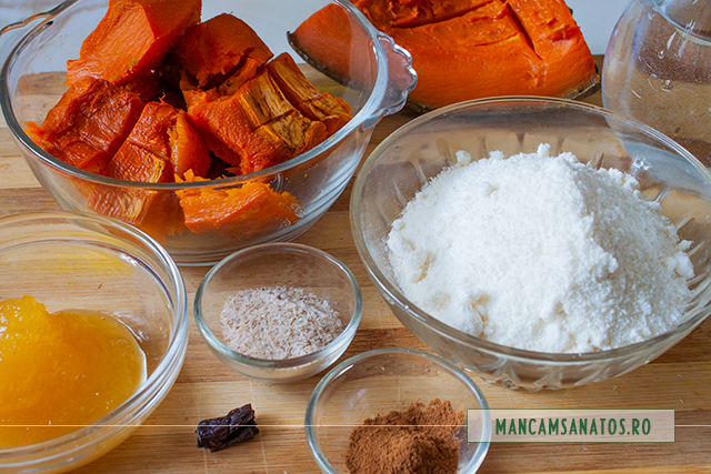 dovleac copt si alte ingrediente vegane,, pentru pudding