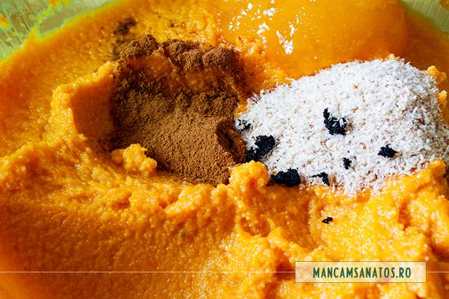 ingrediente pentru aromatizare si consistenta pudding  vegan, de dovleac copt