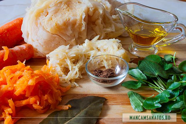 ingrediente pentru salata de morcovi al dente, cu varza murata si untisor