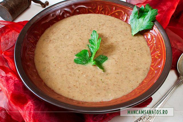 supa crema de linte verde, cu lapte din orez integral, schinduf si lamaie