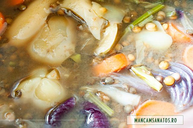legume fierte pentru supa crema de linte verde, cu lapte din orez integral, schinduf si lamaie