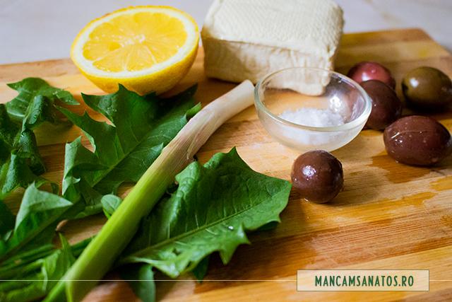 ingrediente pentru tofu cu frunze de papadie, masline si usturoi verde