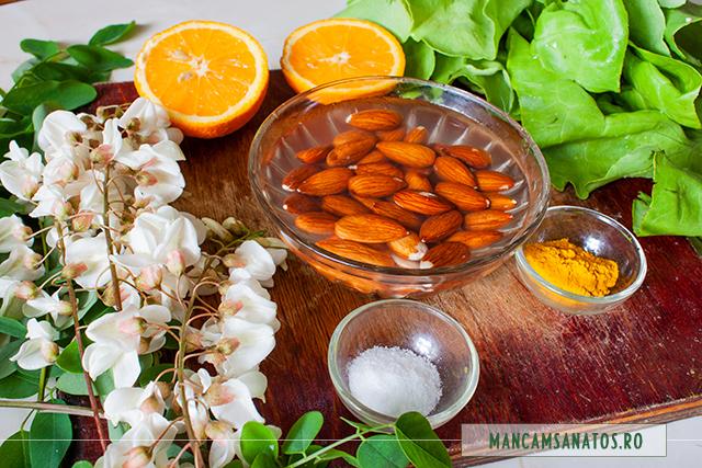 ingrediente pentru salata verde, cu migdale ,flori de salcam si suc de portocale