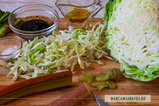 ingrediente pentru salata de varza alba, cu rubarba si seminte de chimen negru